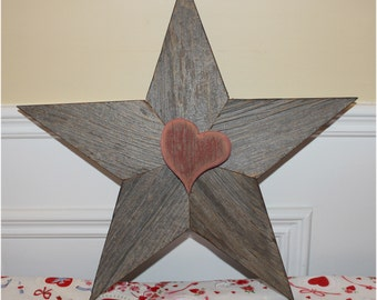 Reclaimed Barn Wood Red Star with Heart Primitive Recycle Salvage Valentine Day Gift Sweetheart Wall Art Decor Be Mine by Junkwhisperer.com