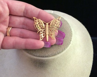 Vintage Signed Monet Goldtone Butterfly Pin