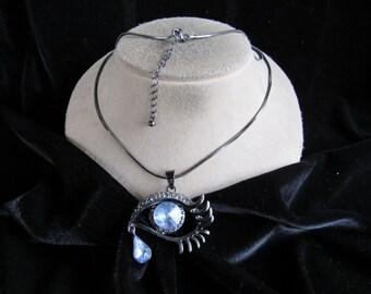 Vintage Long Blue Glass & Dark Gray Rhinestone Pendant Necklace