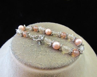 Vintage Pink Faux Pearl & Pink Glass Beaded Toggle Bracelet