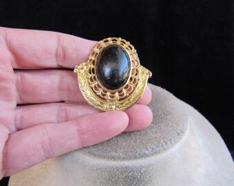 Vintage Goldtone & Black Stone Pin