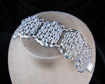 Vintage Wide Chunky Silvertone Bracelet