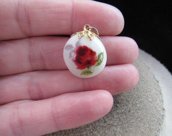 Vintage Hand Painted Rose Glass Stone Pendant