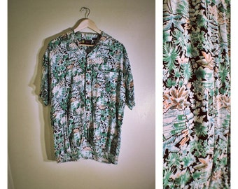 80s Roundy Bay lightweight tropical / colorful / Hawaiian shirt