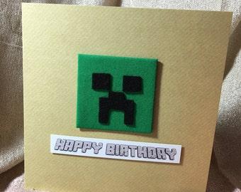 Minecraft Creeper inspired handmade Birthday Card