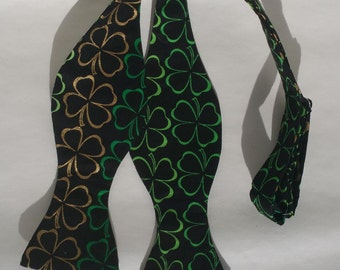 St. Patrick's Day Shamrock Clover Self Tie Bow Tie Adjustable