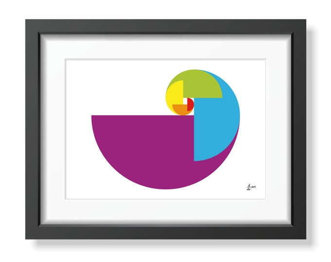 Fibonacci Golden Spiral Parrot [mathematical abstract art print, unframed] A4/A3 sizes