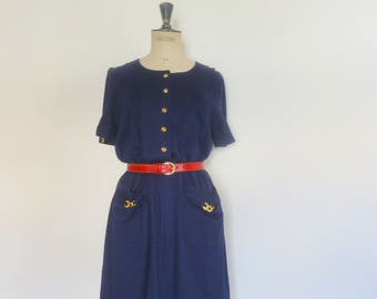 Vintage 90s navy blue dress nautical summer resort dress size s-m