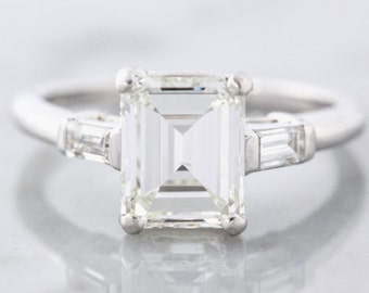 Vintage Emerald Cut Diamond Ring in Platinum with Baguette Sides | Kendall
