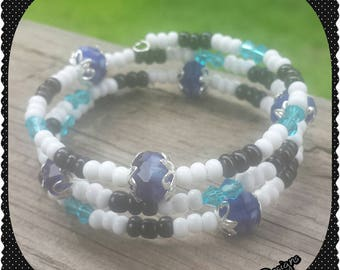 Black, White and Blue Wrap Bracelet