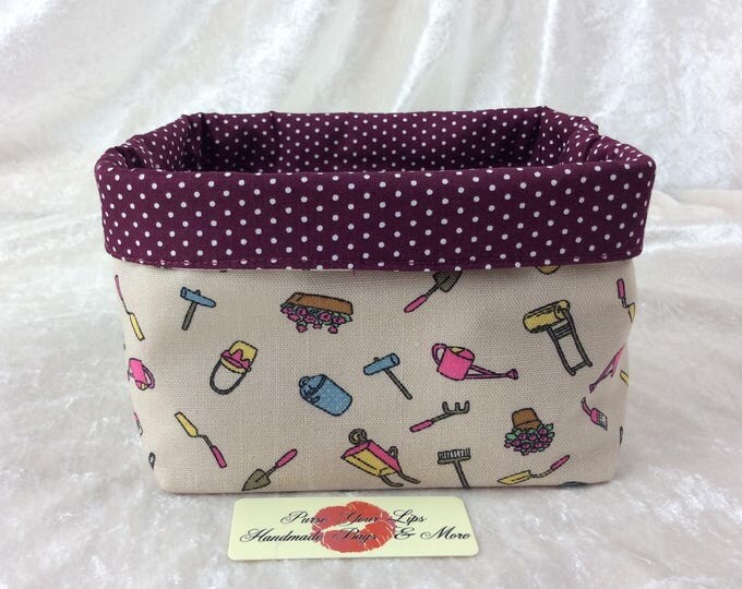 Gardening  Fabric basket short reversible organiser bin storage sewing. Handmade in England