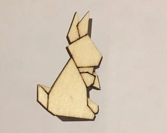 Rabbit animal wooden brooch