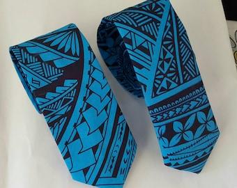 Blue Hawaiian Print Neckties - Boys