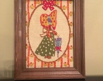 Vintage 1970s Holly Hobbie Cross Stitch Hand Made Framed Wall Art