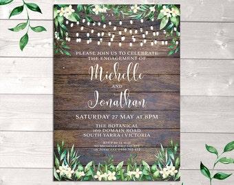 Rustic invitation, engagement invitation, wedding, string lights, wood background, watercolour flowers leaves, digital customised printable