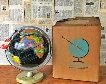 "1959 Starlight World Globe by Replogle, Black Oceans Vintage Globe, 12"" Mid Century Globe, Old Globe, Desk Globe, New Old Stock, Home Decor"