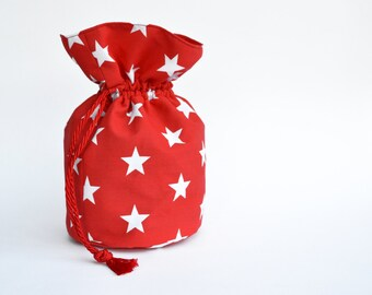 Red Drawstring Pouch, Red Bag, Drawstring Bag,Bag with stars, Alternative Christmas stocking
