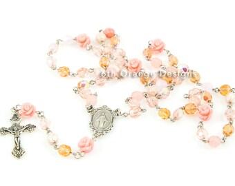 Pink Rose Handmade Rosary