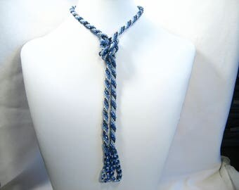 Hand Crocheted Blues Glass Seed Bead Necklace with Tassels