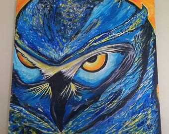 """24"""" x 24"""" Owl Painting Acrylic on gallery canvas."""