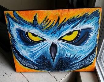 """20"""" x 15.5"""" Owl Painting acrylic on canvas"""