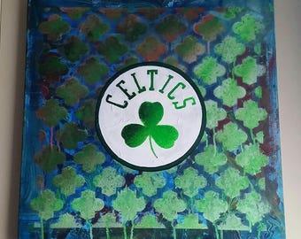 "20"" x 20"" Celtics Painting acrylic on canvas"