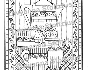 Coffee Pot and Mugs Coloring Page PDF
