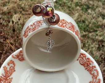 Tiny Teacup Beaded Bird Feeder Recycled Upcycled Repurposed Garden Art