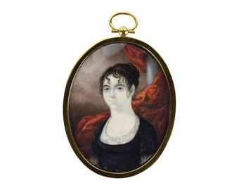 Antique Miniature Watercolor Painting Portrait Haunting Woman in Black