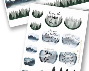 travel  STICKERS wanderlust explore theme kit - stickers flakes and journaling cards   ! mountain and forest washi tape stickers