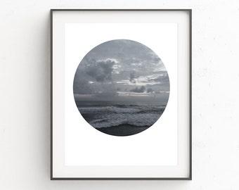 Ocean Waves Wall Art, Photography Circle, Ocean Coastal Art, Coastal Beach Photography, Printable Decor, Seascape Wall Print, Bali Photo