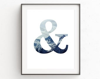Ampersand Print, And Sign, Home Decor Wall Art, Mountain Print, Blue Wall Art, Ampersand Poster, Mountain Wall Art