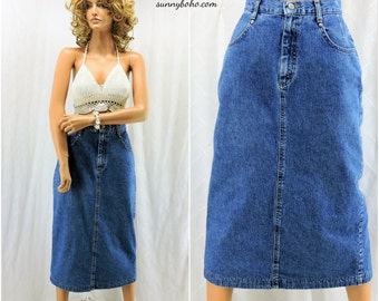 Long denim skirt | Etsy