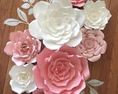 Set of 8 mixed sizes Giant Paper Flower, Nursery, Customize your colors