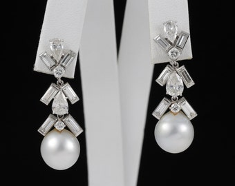 18K Vintage Platinum Earrings Diamond Pearl Art Deco