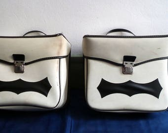 French pair of 1970 vintage bicycle panniers / luggage solex / accessory motorcycle moped retro cycling biker /cadeau / collection