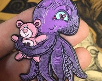 Adorable baby squid with a teddy bear soft enamel hat pin - LE100