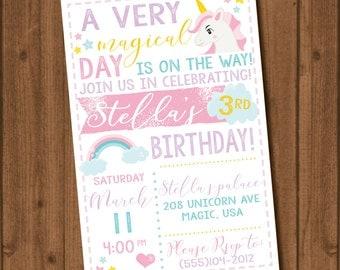 Unicorn Birthday Invite File Pink Purple Teal Yellow Girl