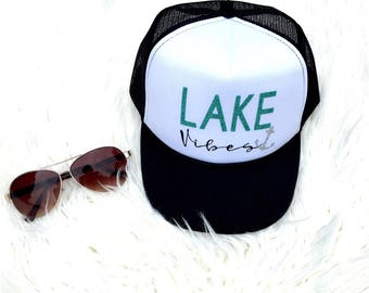 Lake hat, Lake vibes, Boating hat, Great Lakes, Surfer girl, Glitter Hat, Personalized hat, Glittered Anchor, Summer Hat, Wake boarding hat