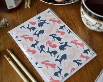 Hopping Hares   Easter Greeting Card   Notecard Set