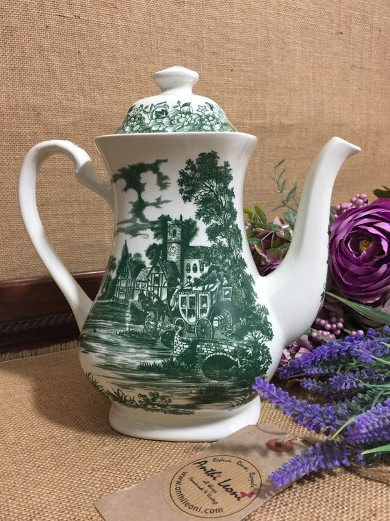 Green Transferware Coffee Pot by J G Meakin Stratford Stage - English Staffordshire Pottery - Green Toile de Jouy China