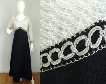 Vintage 60s black & white metallic full length dress size small, silver black dress, occasion dress, party dress, knit dress, maxi dress