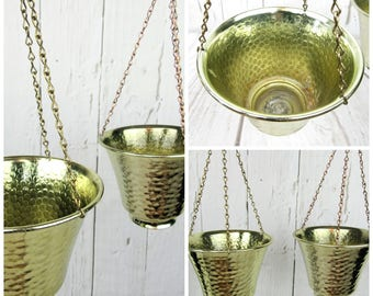 "Pair of Brass Hanging Planters~3 Chain Retro Mod Hammered Brass Small Planters~5 3/4"" Plant Succulent Planters Flower Pots Indoor"