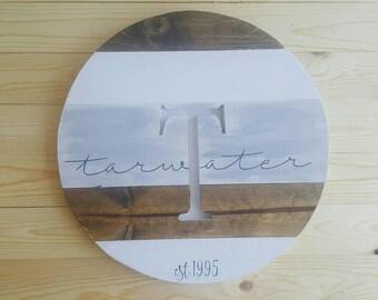 Round wood monogram, wood round