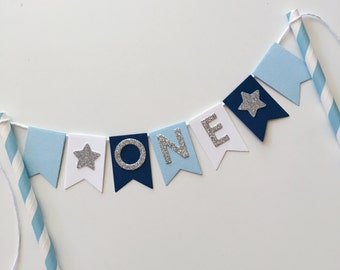 Bunting Cake Topper - 1st Birthday Baby Blue, White and Navy with Silver Glitter ONE