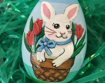 Bunny in a basket with tulips hand painted wooden Easter egg