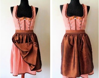 German Dirndl Dress w/ Apron, Authentic Dirndl, Spieth Wensky, Cotton Orange Dirndl Dress with Brown Apron, Bavarian Folk Dress, Oktoberfest