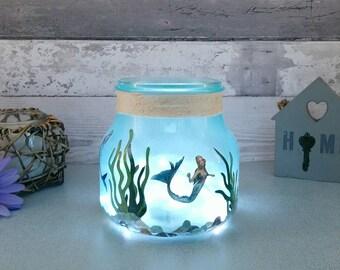 Mermaid Jar Night Light, Girls Table Lamp, Glass Art, Under the Sea Decor, New Baby Room, Granddaughter Gift, Daughters Birthday presents