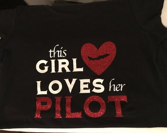 This Girl Loves Her Pilot Fitted Tee