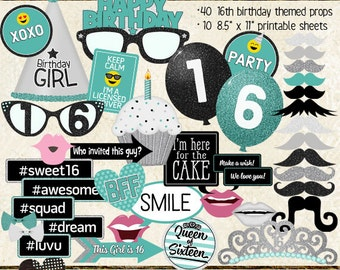Photo Booth Props, HAPPY 16TH BIRTHDAY, girl, printable sheets, instant download, turquoise, black, silver